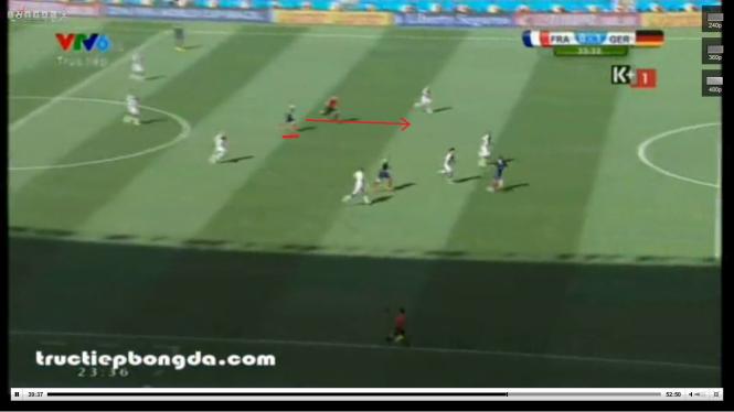 Đội hình Đức tỏ ra xáo trộn. Khi bộ tứ vệ bận lui về để bắt kịp cầu thủ Pháp, khoảng trống với hàng tiền vệ mở ra, Valbuena được tự do chạy chỗ, xâm nhập vòng cấm.